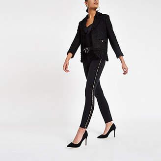 River Island Womens Black Amelie side embellished skinny jeans