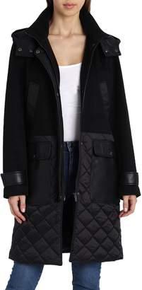 Badgley Mischka Kennedy Mixed Media Wool Coat