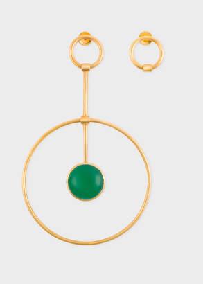 Paul Smith Rachel Entwistle + Gold 'Pendulum Loop' Earrings With Green Onyx Stone