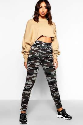 boohoo Camo Knitted Leggings