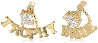 "Betsey Johnson Blue Word Play"" Gold And Cubic Zirconia ""Trophy Bride"" Earring Jacket"