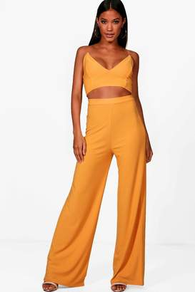 boohoo Crepe Bralet Palazzo Trouser Co-Ord