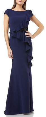 Carmen Marc Valvo Bateau-Neck Cap-Sleeve Crepe Gown with Ruffle & Beaded Detail