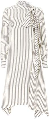 See by Chloe Striped Tie-Neck Midi Dress