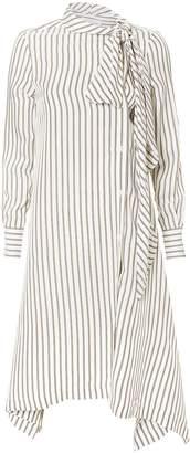 See by Chloe Striped Tie-Neck Midi Dress
