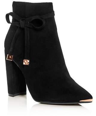 Ted Baker Women's Qatena Suede Pointed Toe High-Heel Booties