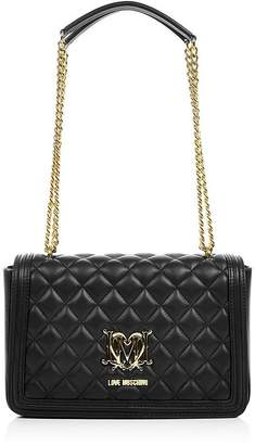 Love Moschino Quilted Logo Bag With Chain- Black