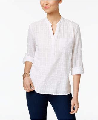 Style & Co Cotton Roll-Tab Textured Top, Only at Macy's $49.50 thestylecure.com
