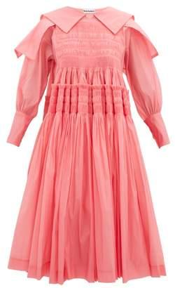 Molly Goddard Bertha Smocked Organza Dress - Womens - Pink