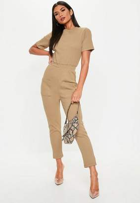 Missguided Petite Camel Jersey Ribbed Pocket Front Romper