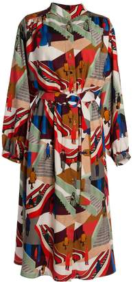 Tomcsanyi - Nepliget Stairs Print Gathered Shirt Dress