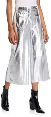 MSGM Metallic Wide-Leg Cropped Pants