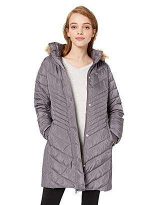 U.S. Polo Assn. Women's Long Chevron Quilted Puffer Jacket