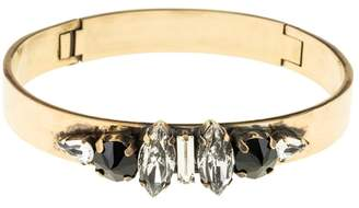 Halo & Co Distressed Black Jewelled Cuff In Antique Gold Tone