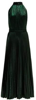 Raquel Diniz - Giovanna Halter Neck Velvet Dress - Womens - Dark Green