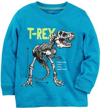 "Carter's Baby Boy Dinosaur ""T-Rex"" Skeleton Long Sleeve Graphic Tee"