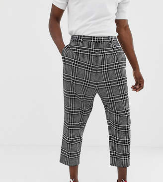 Noak drop crotch tapered cropped smart pants in black check