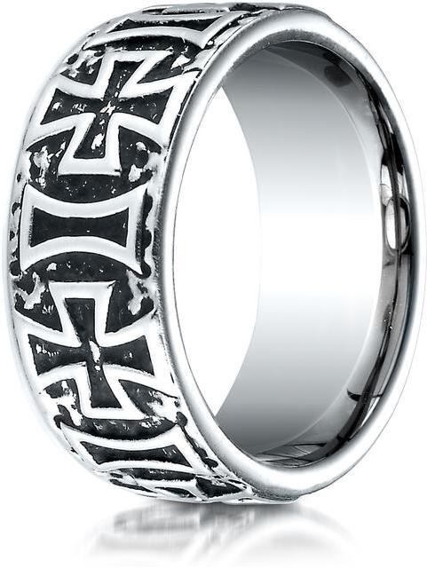 Benchmark Cobalt 9mm Comfort-Fit Maltese Cross Design Ring