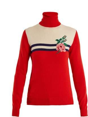 Rose-intarsia wool-blend knit sweater