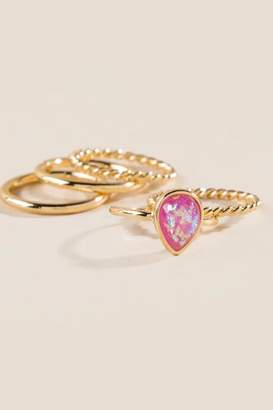 francesca's Helen Pink opal Ring Set - Rose