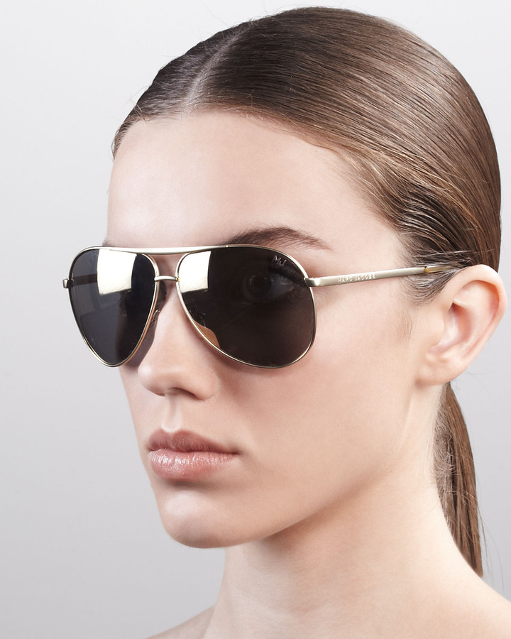Marc Jacobs Classic Aviator Sunglasses, Shiny Gold