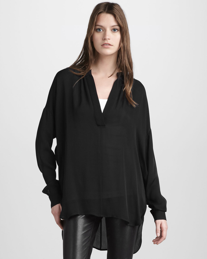Vince Shirred V-Neck Silk Blouse