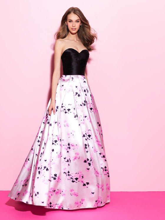 Madison James - Pink and Black Long Ballgown 17-211