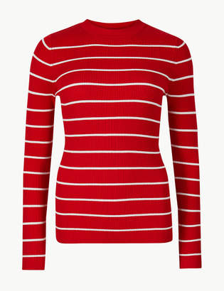 M&S Collection Striped Round Neck Jumper