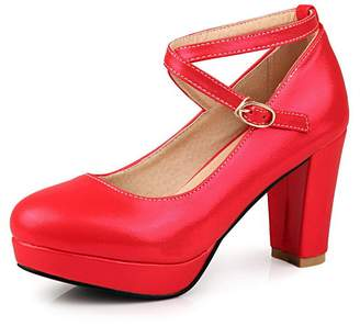 1TO9 Ladies Metal Chain Chunky Heels Platform Polyurethane Pumps-Shoes