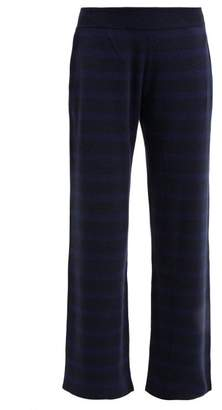 Barrie Rib Knitted Cashmere Track Pants - Womens - Navy Multi