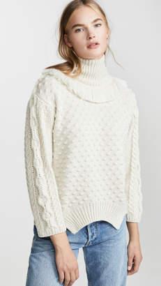 Nude Turtleneck Sweater with Fringe