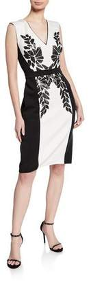 Tadashi Shoji Colorblock V-Neck Sleeveless Neoprene Dress w/ Sequin Detail