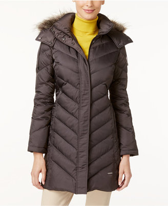 Kenneth Cole Faux-Fur-Trim Chevron Quilted Down Coat $245 thestylecure.com