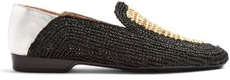 CLERGERIE Feria collapsible-heel rafia loafers