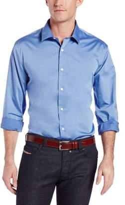Perry Ellis Men's Long Sleeve Twill Noniron Spread Collar Shirt