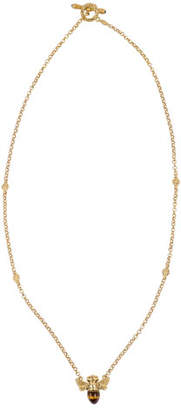 Konstantino 18k Tiger's Eye Bee Pendant Necklace w/ Diamonds