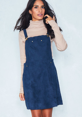 399253ae399 Missy Empire Alita Navy Suede Pinafore Dress