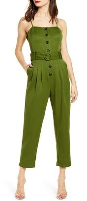 J.o.a. Button Front Jumpsuit