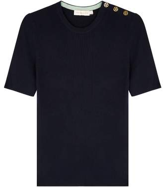 Tory Burch Taylor Navy Ribbed Cashmere Top