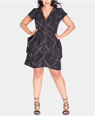 City Chic Plus Size Random-Lines Tunic Dress