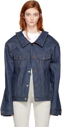 Matthew Adams Dolan Indigo Denim Structure Shoulder Jacket