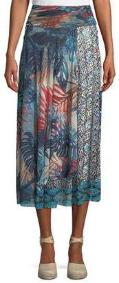 Fuzzi Jungle-Print Patch Long A-Line Skirt