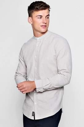 boohoo Linen Cotton Blend Long Sleeve Grandad Shirt