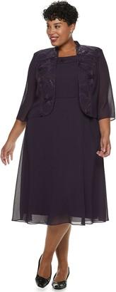 Le Bos Plus Size Sequin Trim Dress & Jacket Set
