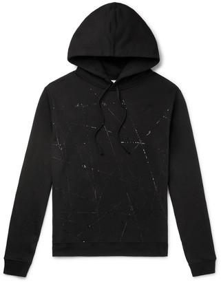 Saint Laurent Slim-Fit Embroidered Loopback Cotton-Jersey Hoodie - Men - Black