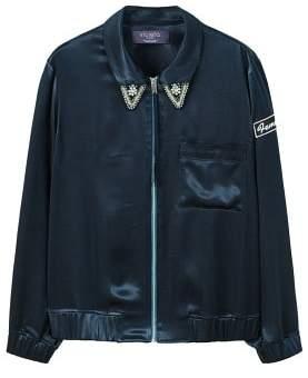 Violeta BY MANGO AppliquAs satin bomber jacket