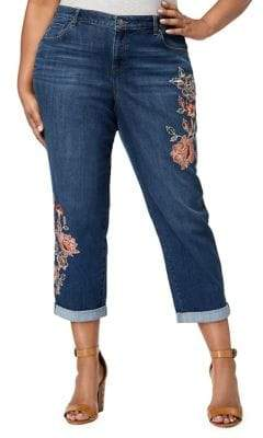 Style&Co. Style & Co. Plus Embroidered Ankle Jeans