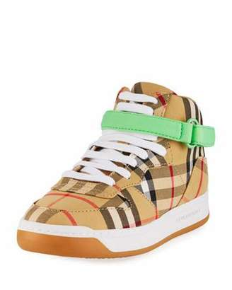 Burberry Groves High-Top Check Sneakers w/ Contrast Grip Strap, Toddler/Kids