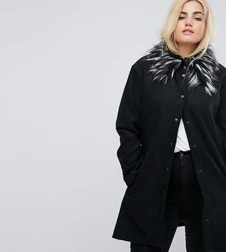 Brave Soul Plus Davina Coat With Faux Fur Collar