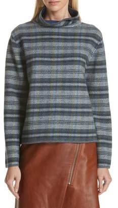 Nordstrom Signature Funnel Neck Plaid Cashmere Blend Sweater